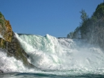 wild waterfall on the rhine in switzerland