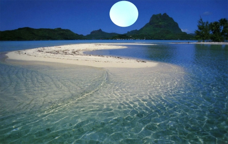 Blue Moon Beach - moon over ocean, moon over beach, Blue Moon Beach, blue moon