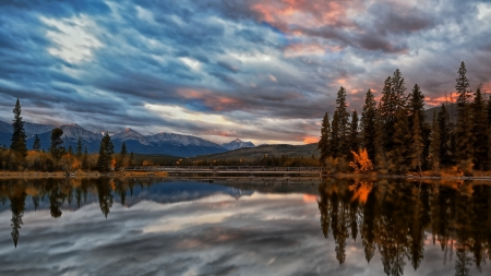 beautiful pyramid lake in jasper np canada - bridge, mountains, sunset, reflection, trees, clouds, lake