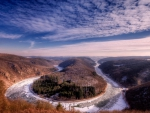 horseshoe in the saar river in winter