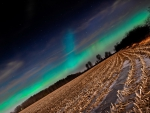 northern lights over cultivated fields