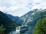 cruise ship in wonderful geiranger fjord in norway