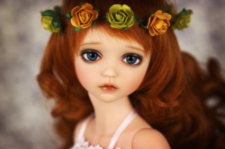 Lovely Doll - natural, roses, porcelain, hair, eyes