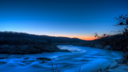 beautiful flowing river at dusk - flowing, banks, dusk, river, blue