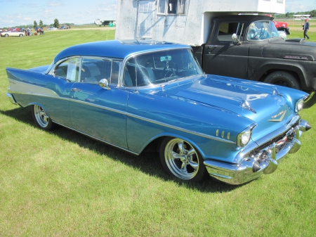 1957 Chevrolet Bel Air with 180 HP - photography, Chevrolet, Chrome, Blue, Tires