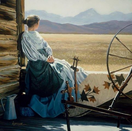MY NEW LAND - quilt, rocky mountains, old west, american woman
