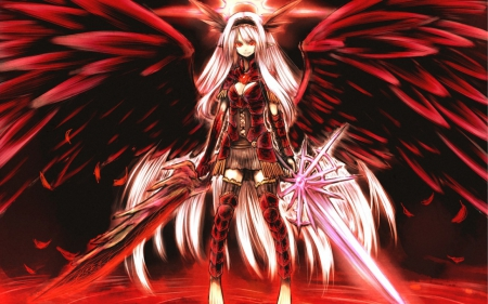 Angel of war - armor, wings, girl, angel, long hair, sword