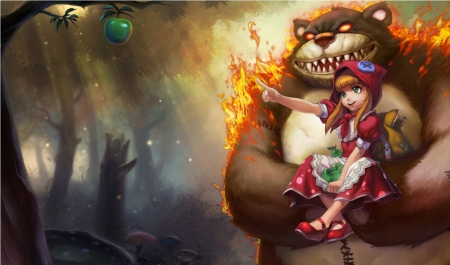 Green Apple - video game, league of legends, fruit, fantasy, flame, anime, mmorpg, anime girl, long hair, shaco, apple, female, online game, brown hair, online, rpg, cute, fire, kawaii, annie, warrior, girl, blaze, bgame, monster, creature