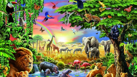 animal - butterfly, bird, elephant, tiger, giraffe