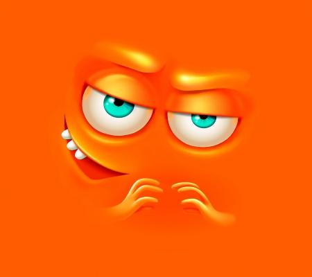 Evil Smile - orange, smiley, face, cartoon, evil, funny, smile