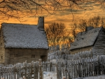 thatched roofs country homes in winter hdr