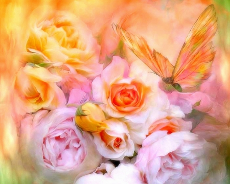 ✫Summer Love Roses✫ - pretty, scents, beautiful, fragrance, sweet, blossom, paintings, butterfly, gentle, love, bright, alive, flowers, beauty, drawings, blooms, butterfly designs, animals, lovely, colors, roses, buds, softness, living, cute, cool, flying, summer, tender touch, nature, petals
