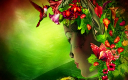 f382c73e585 ✫Angel in Flowers Hat✫ - Fantasy   Abstract Background Wallpapers ...