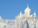 orthodox church painted in snow