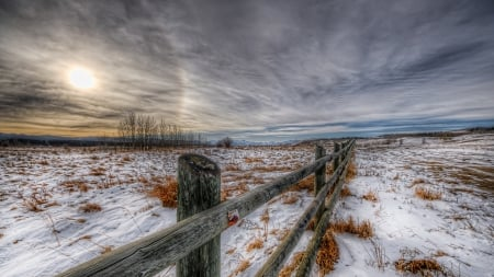 pasture land in winter hdr - fence, sundown, grass, pastures, hdr, clouds, winter