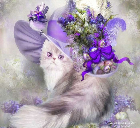 ✫Cat in Easter Lilac Hat✫ - pretty, easter, adorable, ribbons, sweet, paintings, love, bright, flowers, beauty, drawings, lovely, kitty, cat, lavender birdie, jewelry, cute, cool, purple, lilac hat, charm, bow, beautiful, digital art, pink, fancy, feathers, animals, colors, hat, bouquet, eggs, weird things people wear, kitten