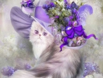 ✫Cat in Easter Lilac Hat✫