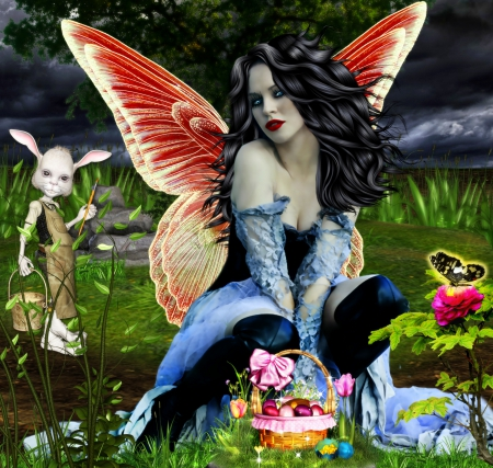 ~Easter Fairy~ - dark, dress, animals, woman, love four seasons, female, hair, lady, rabbit, butterfly, flowers, cool, premade BG, girl, wings, grass, bow, eggs, angel, photomanipulation, model, fairy, rose, plants, easter, creative pre-made, colors, trees, bunny, beautiful, fantasy, pretty, weird things people wear, basket, charm, digital art