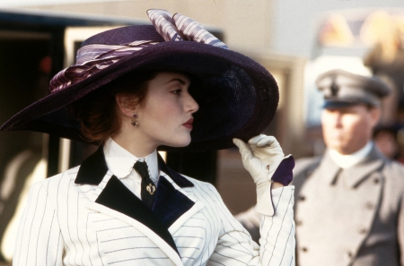 Titanic (1997) - hat, beauty, actress, bow, blue, black, kate winslet, purple, white, woman, lady, girl, movie, titanic