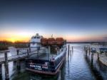sunset on a harbor marina