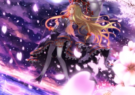Touhou - sakura, red eye, dress, blonde hair, sky, artwork, moon, umberalla, anime, touhou, flowers, walking, eyes, night