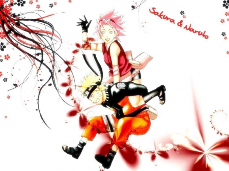 Hey there!!! - siting, sakura, naruto, siting on somebody s back, saying hi, blonde hair, sakura haruno, cute, naruto uzumaki, wallpaper, headband, pink hair