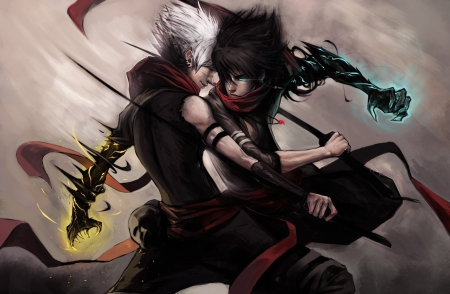 Anime Duel - males, sowrds, Sexy, white hair, scar, balck hair, energy, animal, cool, powers, fight, blue eyes, Anime duel, ninja