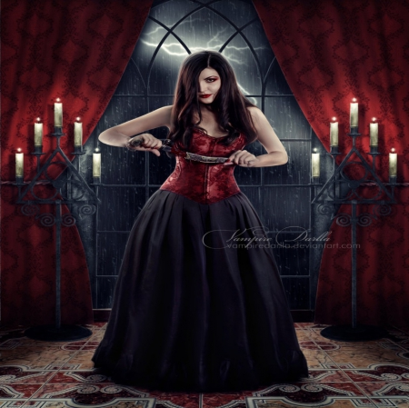 VAMPIRE - DRESS, FEMALE, VAMPIRE, CANDLES, GOTHIC