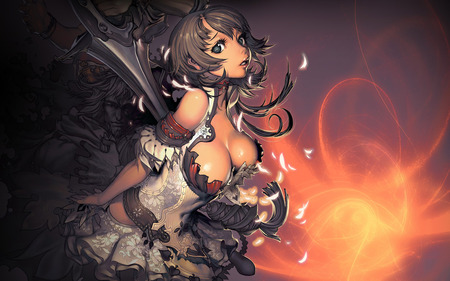 Stunning Anime Girl  - fire, warrior, girl, anime, brown hair, sword