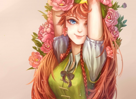 Hong MeiLing - pretty, beautiful, meiling, elegant, floral, sweet, nice, anime, touhou, hot, beauty, anime girl, long hair, blue eyes, gorgeous, female, lovely, romantic, romance, hong, sexy, braids, cute, girl, oriental, flower, passion, hong meiling, chinese, lady, orange hair, maiden