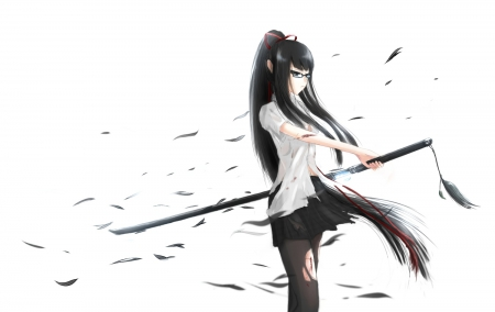 Let's Do This - warrior, anime, glasses, cuts, long hair, sword, black hair, blood