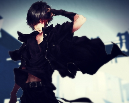 Noctis Lucis Caelum - noctis lucis caelum, hd, cg, guy, video game, game, angry, handsome, hot, final fantasy, realistic, black hair, male, black, sexy, rpg, short hair, boy, 3d, cool, warrior, sinister, serious