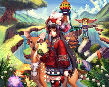 Native - pretty, dress, hd, beautiful, rainbow, deer, totem, animal, sweet, mountain, blossom, nice, anime, hot, beauty, anime girl, long hair, female, cloud, lovely, sky, sexy, flora, cute, girl, flower, rabbot, nature, bunny, native