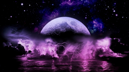 Moon Lightning Storm - ARTISTIC, COSMOS, ABSTRACT, BEAUTY, NATURE