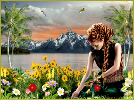 lovely flowers and woman - flower, woman, mountains, palms