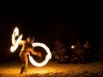 Polynesian Tribal Fire Dancer on beach Bora Bora Tahiti Tahitian