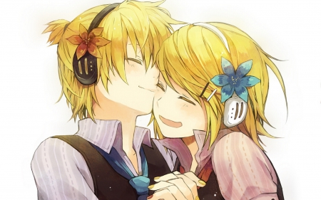 Rin ღ Len - vocaloid, len, headphones, tie, blonde hair, smile, nails, white background, suite, cute, two, flowes, love, kagamine, ren