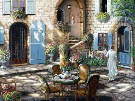 John O'Brien - door, painting, art, terrace, flower