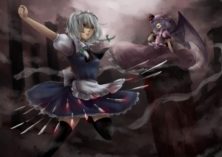 Madness - eerie, horror, angry, scare, emotional, anime, touhou, scary, anime girl, weapon, long hair, candle, fighting, gown, black, mad, gloom, sexy, cute, grape, cap, izayoi sakuya, sinister, serious, dress, evil, remilia scarlet, creepy, darkness, gloomy, hot, light, female, hat, girl, creep, dark, maid, fight