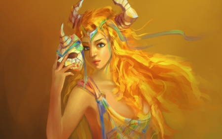 Beauty with mask - art, yellow, blonde, woman, horns, fantasy, girl, beauty, mask, creature, blue