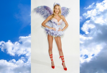 Candice Swanepoel - red, cehenot, woman, angel wings, feather, beauty, shoe, blue, victoria s secret, cloud, model, candice swanepoel, blonde, collage, sky, girl, white