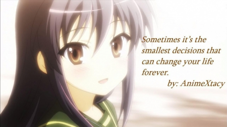 Anime Quote - text, brpwn eyes, anime, true, quote, lifr quote, pruple hair, unifrom