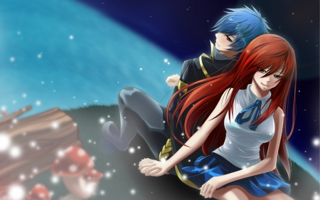 Fairy tail Erza and Jellal - fairy tail, anime, holding hands, erza, smiling, jellal, couple