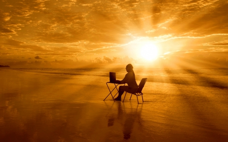 surfing online at the beach - sun, woman, clouds, picture, beach, photography, wallpaper, SkyPhoenixX1, chair, table, vacation, ocean, sunlight, online, notebook, waves, laptop, surfing, abstract, water, girl, summer, the, sunshine