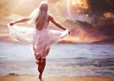 My Ocean of Eternity - of, space, My, Ocean, woman, clouds, sea, picture, lights, beach, fantasy, Eternity, wallpaper, SkyPhoenixX1, stars, fantastic, waves, sky, abstract, girl, running, sunshine, princess