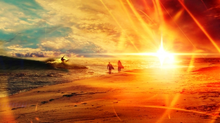 ★ Happy Summer 2015 ★ - sun, Summer, sunset, Happy, clouds, sea, picture, beach, 2013, wallpaper, people, SkyPhoenixX1, surfer, vacation, ocean, waves, sky, riding, surfing, sunshine, nature