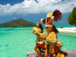 Tahitian Dancers Wecome Visitors to Their Island Bora Bora French Polynesia