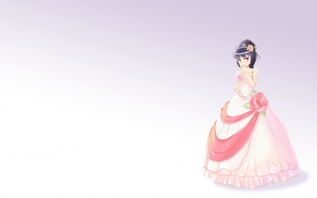 ~Pretty Princess~ - girl, anime, flowers, crown, pink dress, princess