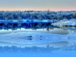 magnificent river in blue winter