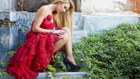thinking of you - blonde, model, red dress, people